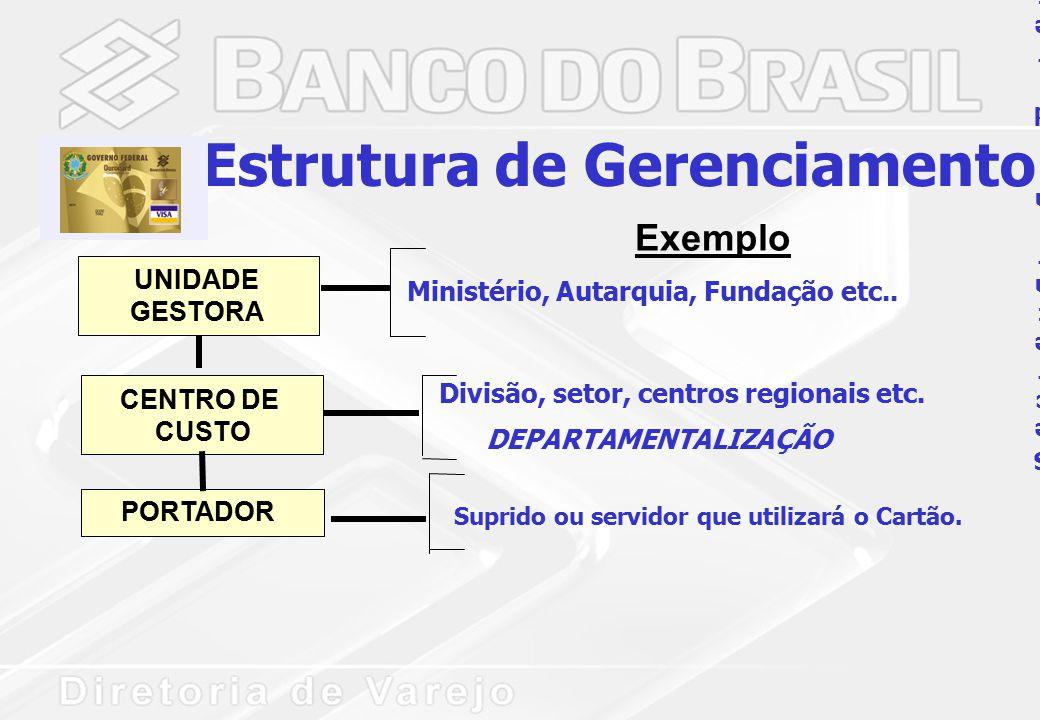 UNIDADE GESTORA CENTRO DE CUSTO PORTADOR Estrutura de Gerenciamento Ministério, Autarquia, Fundação etc..