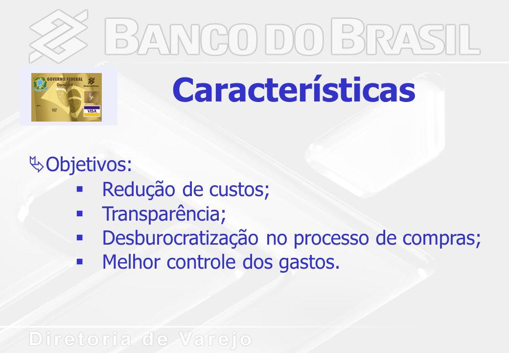 Características  Objetivos:  Redução de custos;  Transparência;  Desburocratização no processo de compras;  Melhor controle dos gastos.
