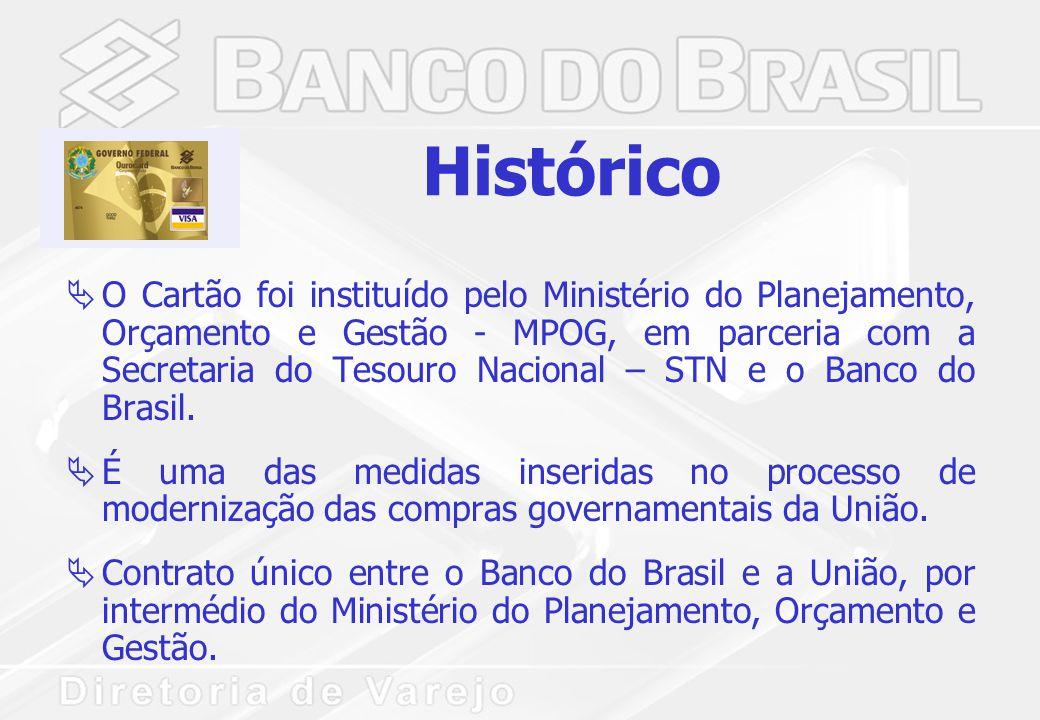 Histórico  O Cartão foi instituído pelo Ministério do Planejamento, Orçamento e Gestão - MPOG, em parceria com a Secretaria do Tesouro Nacional – STN e o Banco do Brasil.