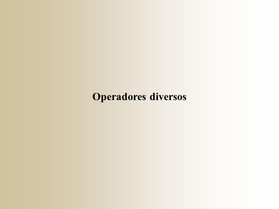 Operadores diversos
