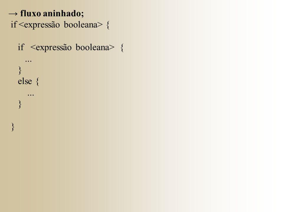 → fluxo aninhado; if {... } else {... }