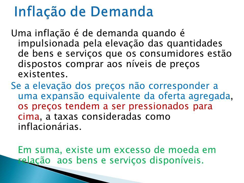 Uma inflação é de demanda quando é impulsionada pela elevação das quantidades de bens e serviços que os consumidores estão dispostos comprar aos níveis de preços existentes.