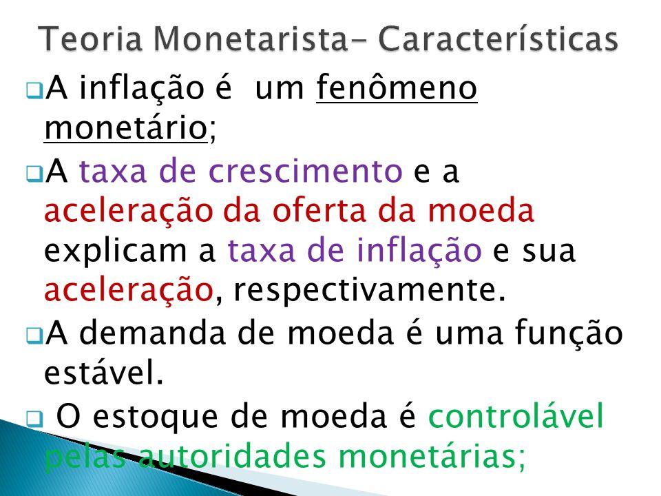  A inflação é um fenômeno monetário;  A taxa de crescimento e a aceleração da oferta da moeda explicam a taxa de inflação e sua aceleração, respectivamente.