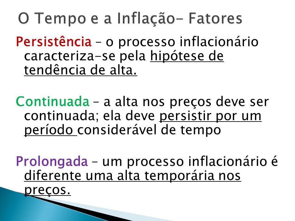 Persistência – o processo inflacionário caracteriza-se pela hipótese de tendência de alta.