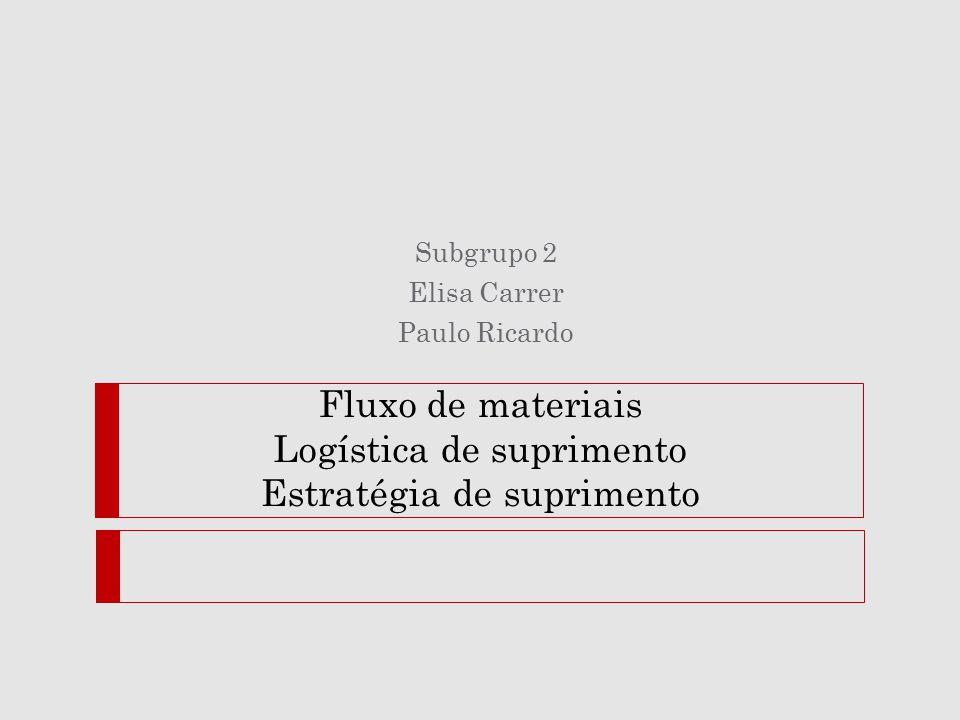 Fluxo de materiais Logística de suprimento Estratégia de suprimento Subgrupo 2 Elisa Carrer Paulo Ricardo