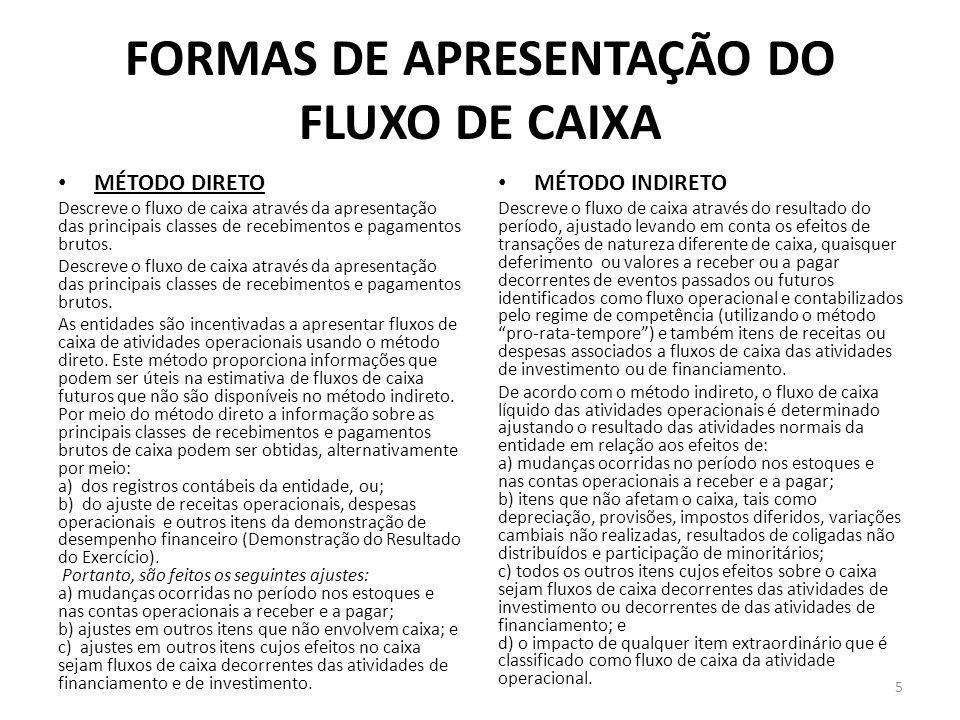 FORMAS DE APRESENTAÇÃO DO FLUXO DE CAIXA MÉTODO DIRETO Descreve o fluxo de caixa através da apresentação das principais classes de recebimentos e paga