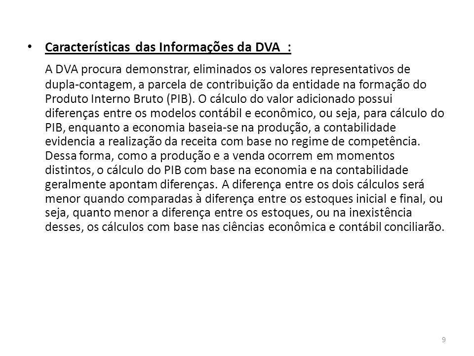 Características das Informações da DVA : A DVA procura demonstrar, eliminados os valores representativos de dupla-contagem, a parcela de contribuição