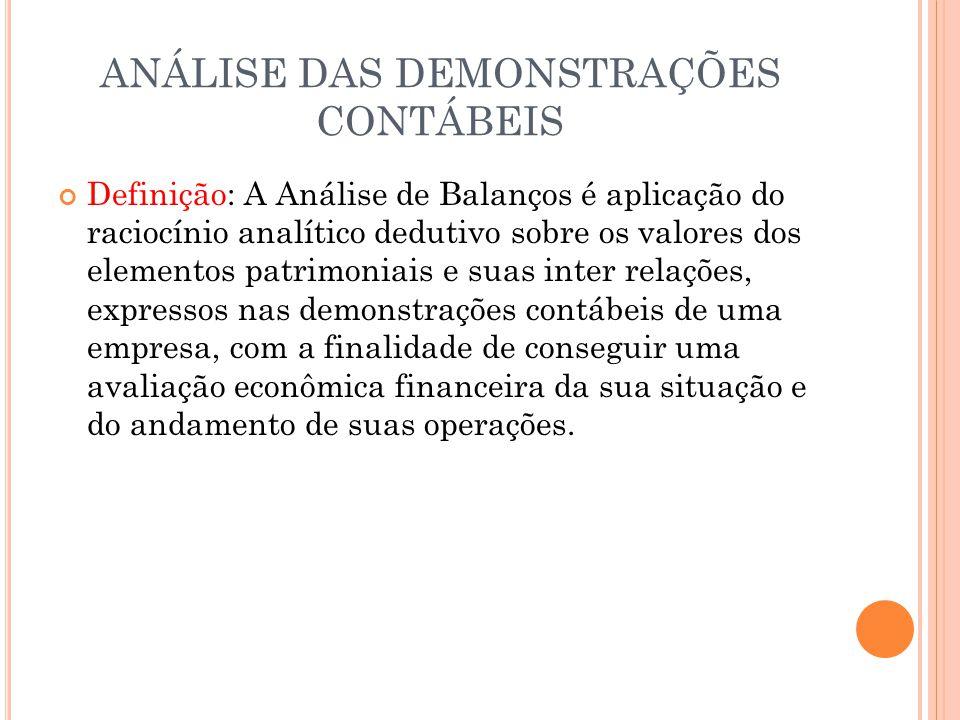 ANÁLISE DAS DEMONSTRAÇÕES CONTÁBEIS Definição: A Análise de Balanços é aplicação do raciocínio analítico dedutivo sobre os valores dos elementos patri