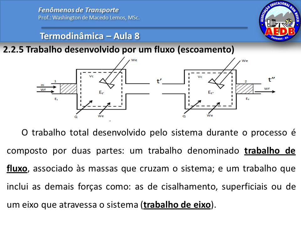2.2.5 Trabalho desenvolvido por um fluxo (escoamento) Termodinâmica – Aula 8 Fenômenos de Transporte Prof.: Washington de Macedo Lemos, MSc.