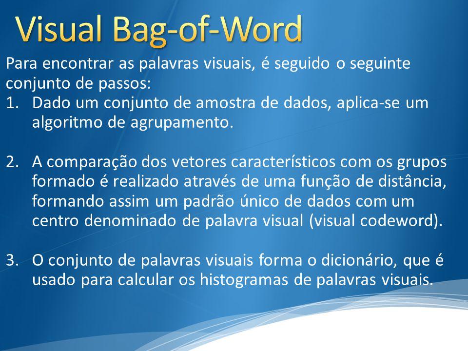Para encontrar as palavras visuais, é seguido o seguinte conjunto de passos: 1.Dado um conjunto de amostra de dados, aplica-se um algoritmo de agrupam