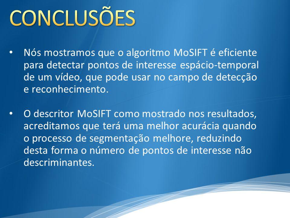 Nós mostramos que o algoritmo MoSIFT é eficiente para detectar pontos de interesse espácio-temporal de um vídeo, que pode usar no campo de detecção e