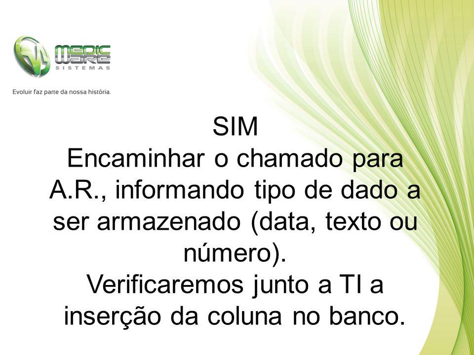 SIM Encaminhar o chamado para A.R., informando tipo de dado a ser armazenado (data, texto ou número).