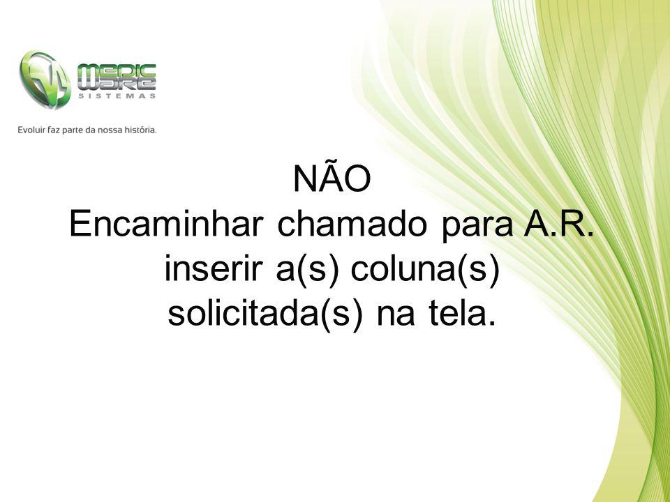 NÃO Encaminhar chamado para A.R. inserir a(s) coluna(s) solicitada(s) na tela.