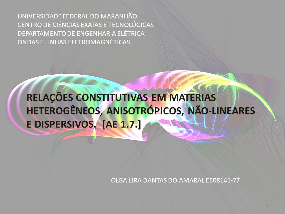 Materiais cuja permissividade elétrica ε depende da frequência ε (w) são referidos como MATERIAIS DISPERSIVOS.