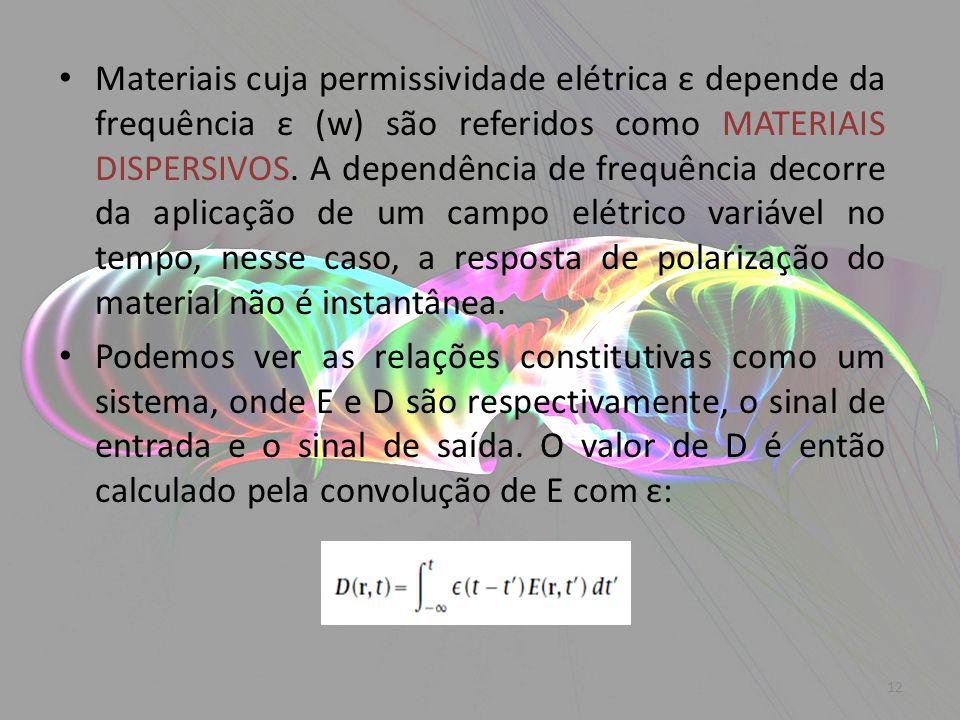 Materiais cuja permissividade elétrica ε depende da frequência ε (w) são referidos como MATERIAIS DISPERSIVOS. A dependência de frequência decorre da