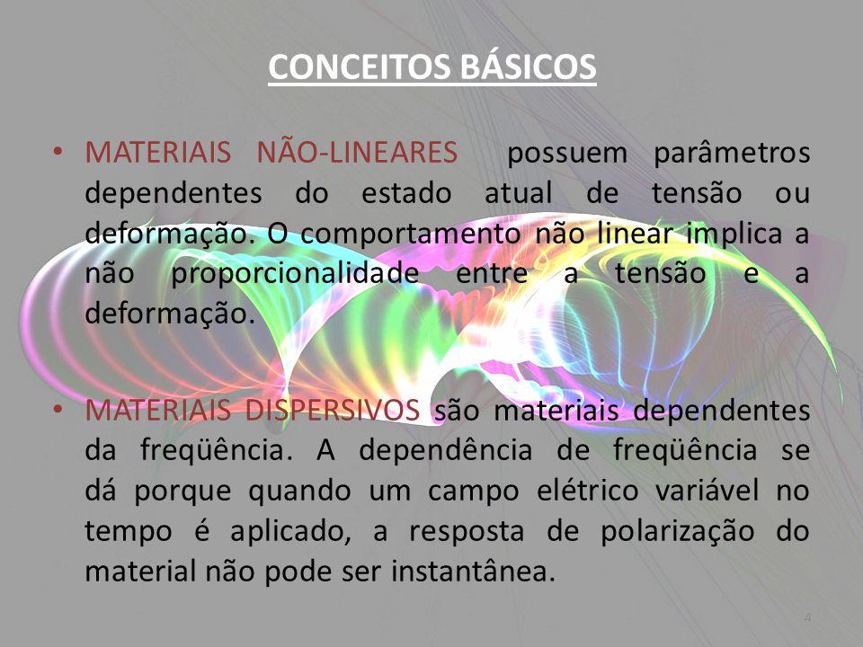 MATERIAIS NÃO-LINEARES possuem parâmetros dependentes do estado atual de tensão ou deformação. O comportamento não linear implica a não proporcionalid