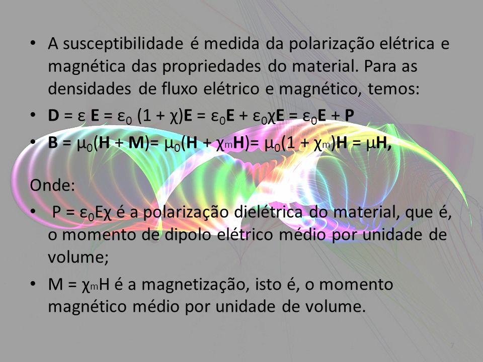 A susceptibilidade é medida da polarização elétrica e magnética das propriedades do material. Para as densidades de fluxo elétrico e magnético, temos: