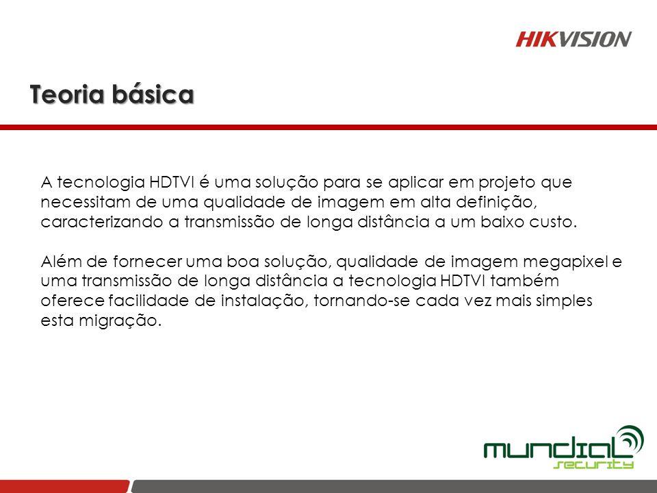 Teoria básica A tecnologia HDTVI é uma solução para se aplicar em projeto que necessitam de uma qualidade de imagem em alta definição, caracterizando
