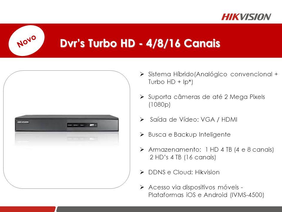Dvr's Turbo HD - 4/8/16 Canais Dvr's Turbo HD - 4/8/16 Canais Novo  Sistema Híbrido(Analógico convencional + Turbo HD + Ip*)  Suporta câmeras de até