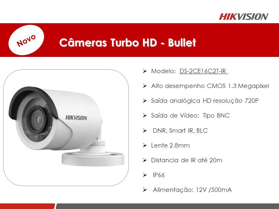  Modelo: DS-2CE16C2T-IR  Alto desempenho CMOS 1.3 Megapixel  Saída analógica HD resolução 720P  Saída de Vídeo: Tipo BNC  DNR, Smart IR, BLC  Le