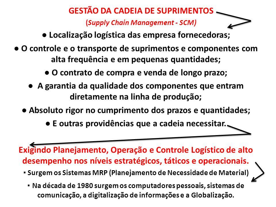 GESTÃO DA CADEIA DE SUPRIMENTOS (Supply Chain Management - SCM) ● Localização logística das empresa fornecedoras; ● O controle e o transporte de supri