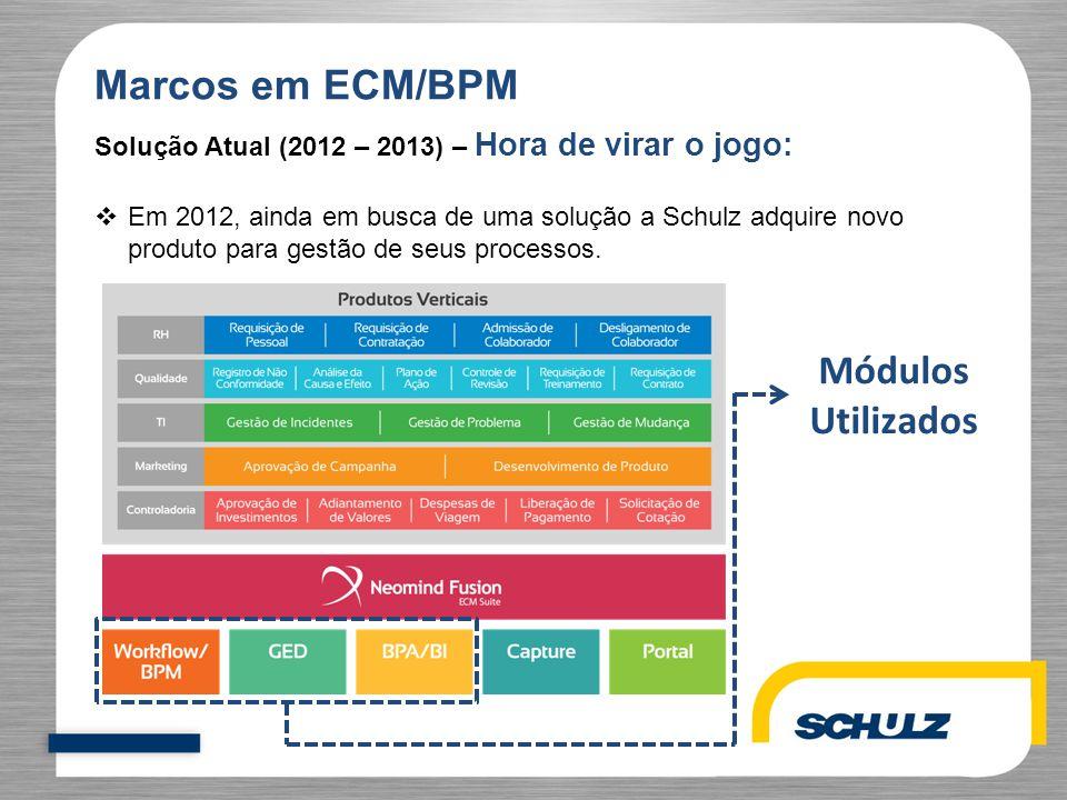Marcos em ECM/BPM Solução Atual (2012 – 2013) – Hora de virar o jogo:  Em 2012, ainda em busca de uma solução a Schulz adquire novo produto para gest