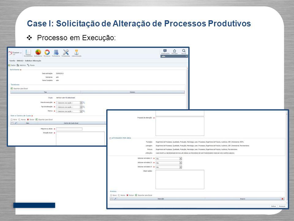  Processo em Execução: Case I: Solicitação de Alteração de Processos Produtivos