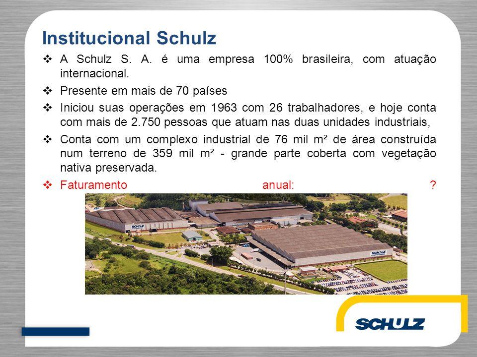 Institucional Schulz  A Schulz S. A. é uma empresa 100% brasileira, com atuação internacional.  Presente em mais de 70 países  Iniciou suas operaçõ