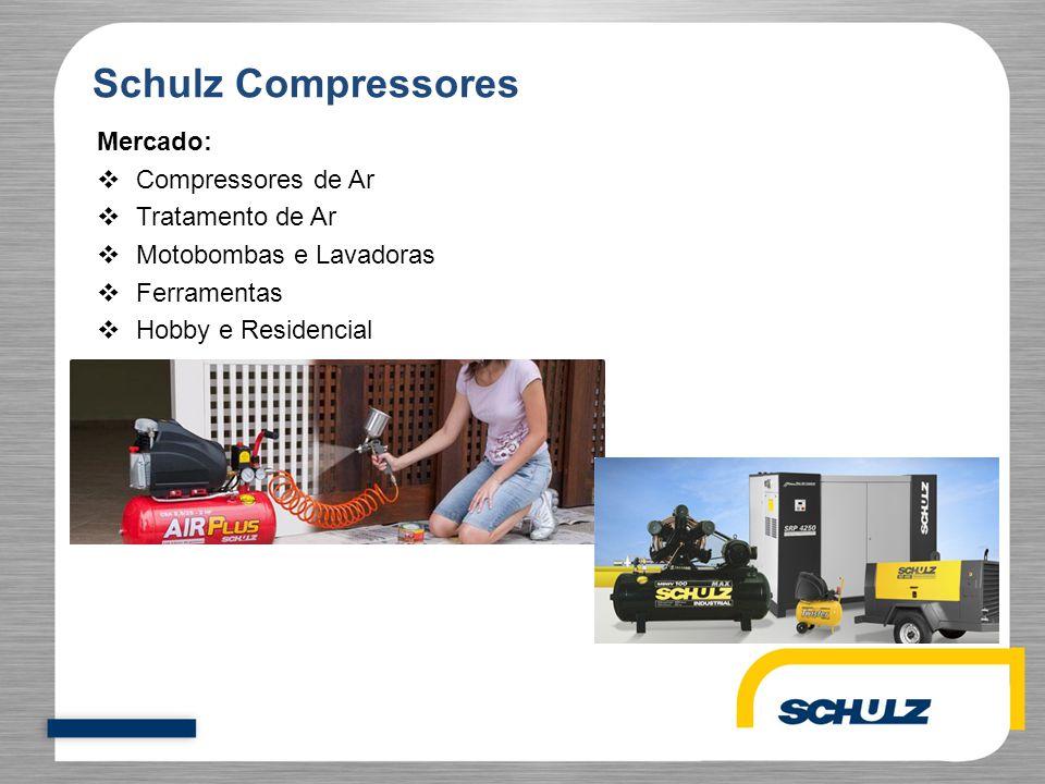 Mercado:  Compressores de Ar  Tratamento de Ar  Motobombas e Lavadoras  Ferramentas  Hobby e Residencial Schulz Compressores