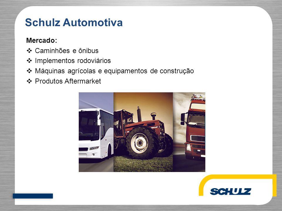 Schulz Automotiva Mercado:  Caminhões e ônibus  Implementos rodoviários  Máquinas agrícolas e equipamentos de construção  Produtos Aftermarket