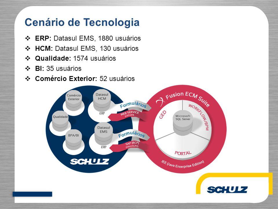 Cenário de Tecnologia  ERP: Datasul EMS, 1880 usuários  HCM: Datasul EMS, 130 usuários  Qualidade: 1574 usuários  BI: 35 usuários  Comércio Exter