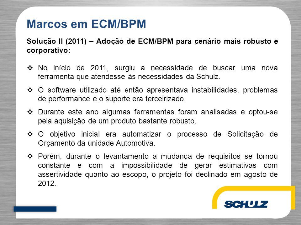Marcos em ECM/BPM Solução II (2011) – Adoção de ECM/BPM para cenário mais robusto e corporativo:  No início de 2011, surgiu a necessidade de buscar u