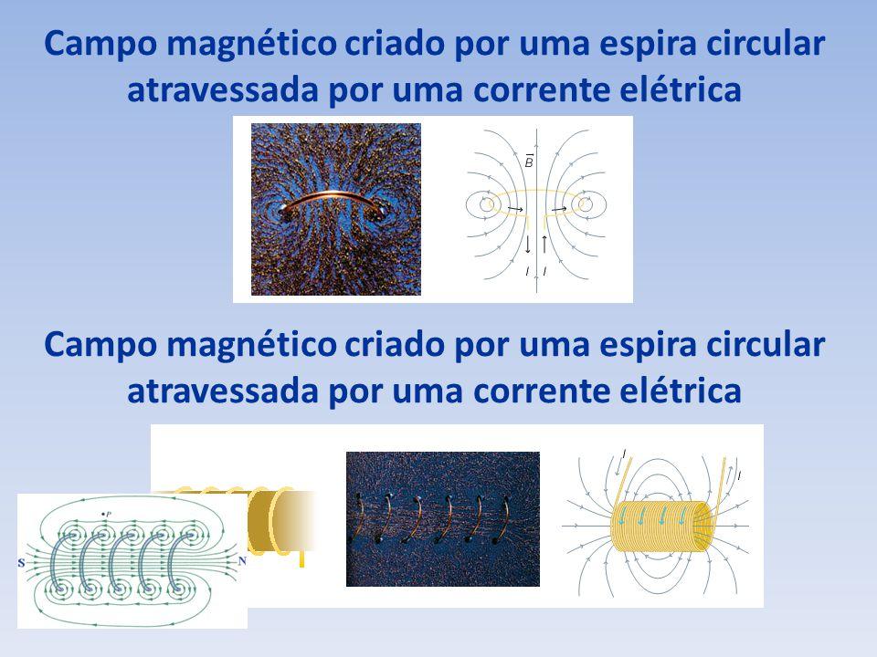 Campo magnético criado por uma espira circular atravessada por uma corrente elétrica