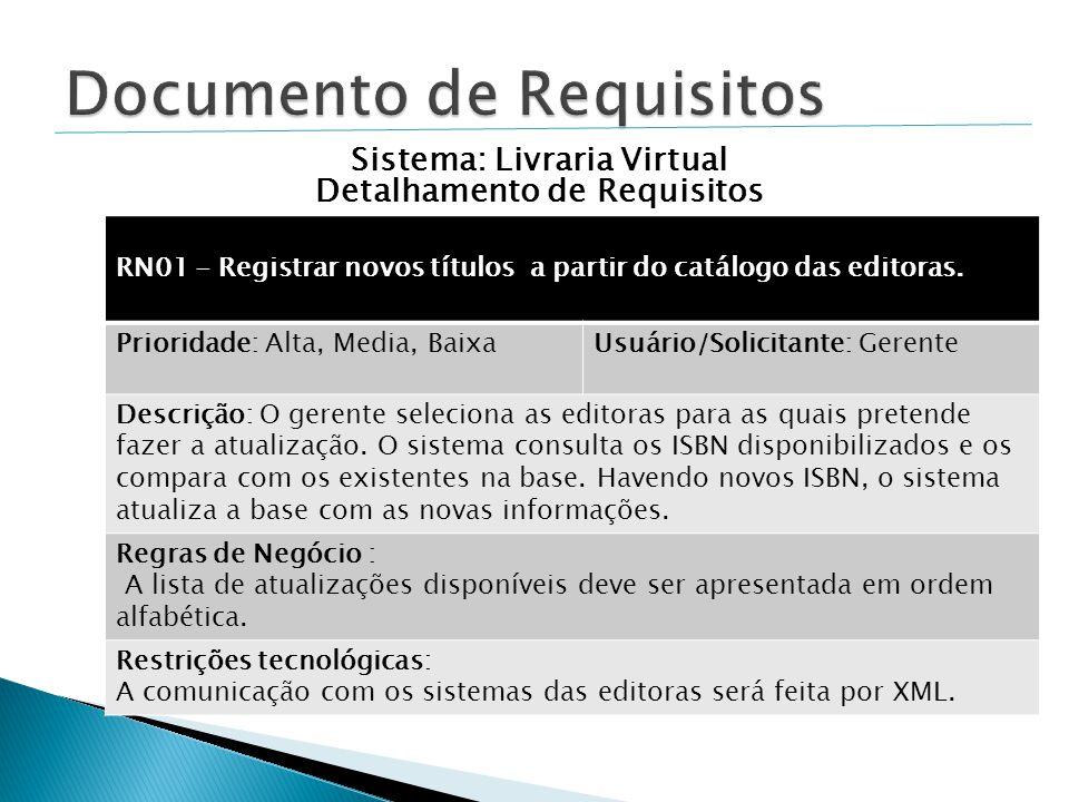 RN01 - Registrar novos títulos a partir do catálogo das editoras.