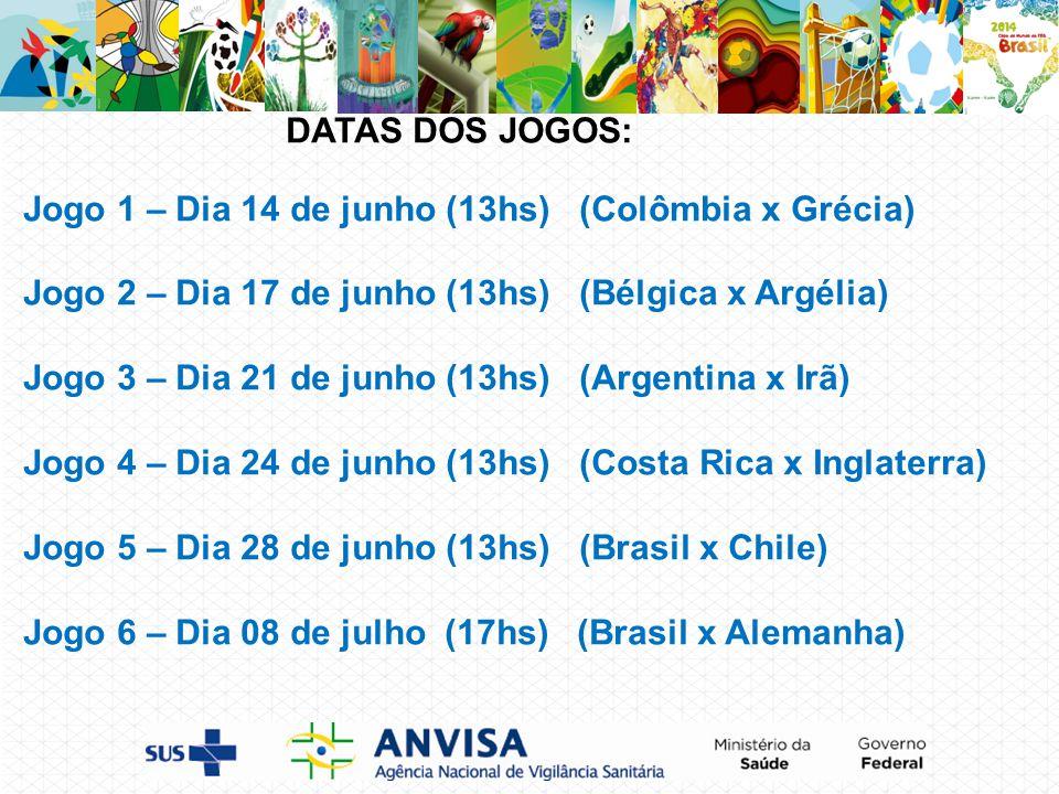 DATAS DOS JOGOS: Jogo 1 – Dia 14 de junho (13hs) (Colômbia x Grécia) Jogo 2 – Dia 17 de junho (13hs) (Bélgica x Argélia) Jogo 3 – Dia 21 de junho (13hs) (Argentina x Irã) Jogo 4 – Dia 24 de junho (13hs) (Costa Rica x Inglaterra) Jogo 5 – Dia 28 de junho (13hs) (Brasil x Chile) Jogo 6 – Dia 08 de julho (17hs) (Brasil x Alemanha)