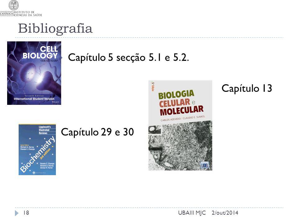 Bibliografia 2/out/2014UBAIII MJC  Capítulo 5 secção 5.1 e 5.2. Capítulo 29 e 30 18 Capítulo 13