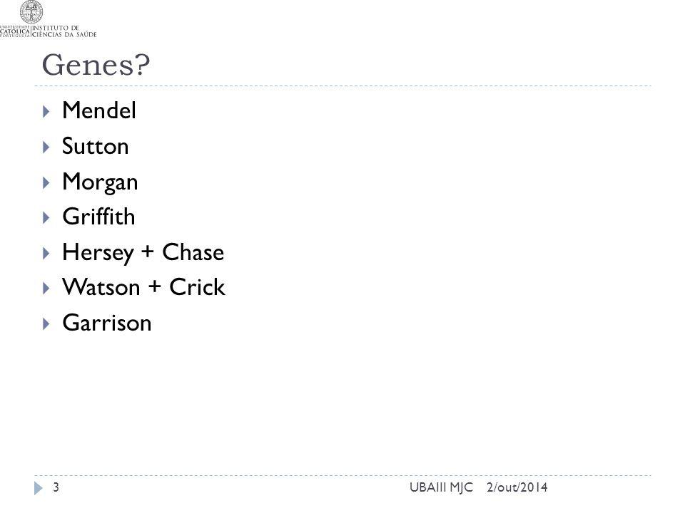 Genes?  Mendel  Sutton  Morgan  Griffith  Hersey + Chase  Watson + Crick  Garrison 2/out/2014UBAIII MJC3