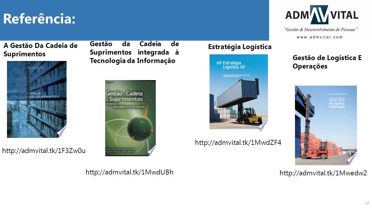 14 Referência: A Gestão Da Cadeia de Suprimentos http://admvital.tk/1F3Zw0u Gestão da Cadeia de Suprimentos integrada à Tecnologia da Informação http: