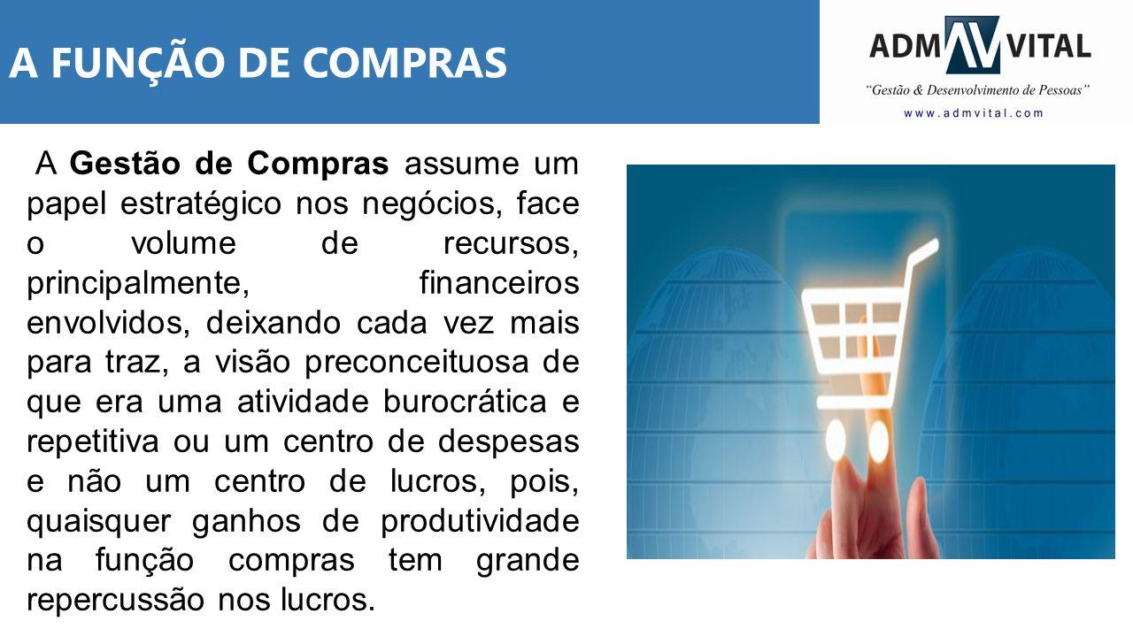 A FUNÇÃO DE COMPRAS A Gestão de Compras assume um papel estratégico nos negócios, face o volume de recursos, principalmente, financeiros envolvidos, d