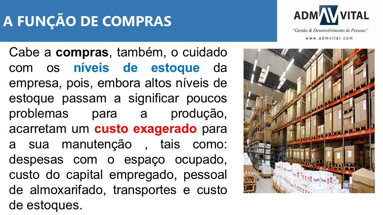 A FUNÇÃO DE COMPRAS Cabe a compras, também, o cuidado com os níveis de estoque da empresa, pois, embora altos níveis de estoque passam a significar po