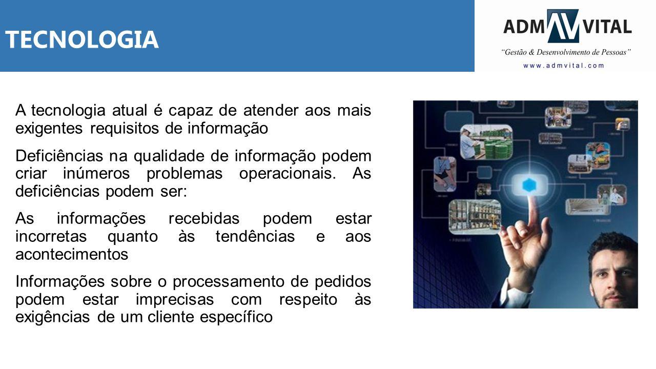 TECNOLOGIA A tecnologia atual é capaz de atender aos mais exigentes requisitos de informação Deficiências na qualidade de informação podem criar inúme