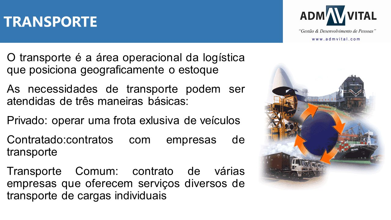 TRANSPORTE O transporte é a área operacional da logística que posiciona geograficamente o estoque As necessidades de transporte podem ser atendidas de