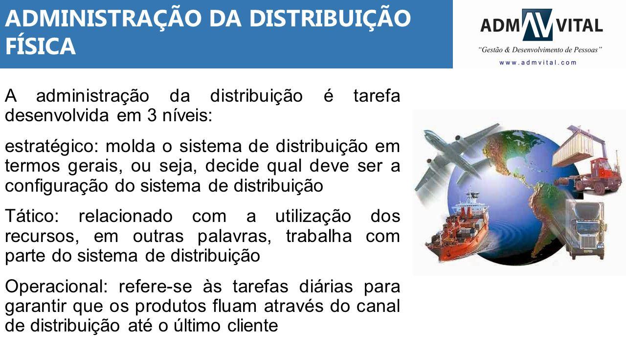 ADMINISTRAÇÃO DA DISTRIBUIÇÃO FÍSICA A administração da distribuição é tarefa desenvolvida em 3 níveis: estratégico: molda o sistema de distribuição e