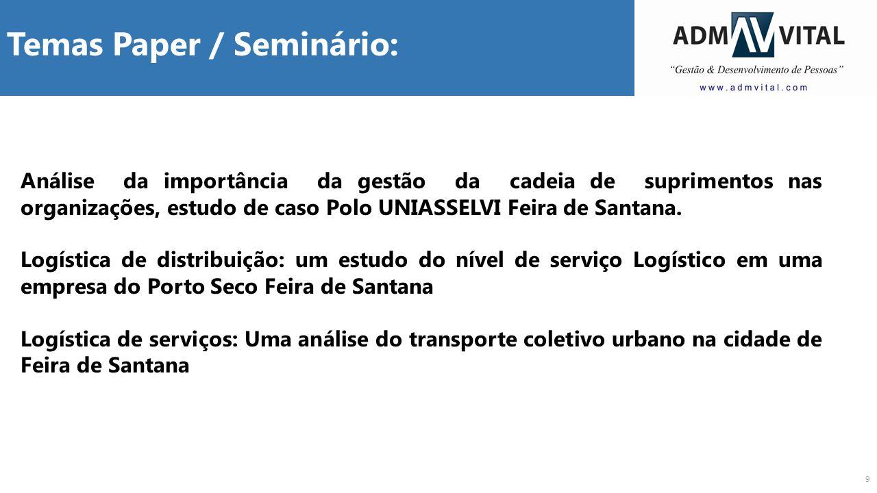 9 Temas Paper / Seminário: Análise da importância da gestão da cadeia de suprimentos nas organizações, estudo de caso Polo UNIASSELVI Feira de Santana