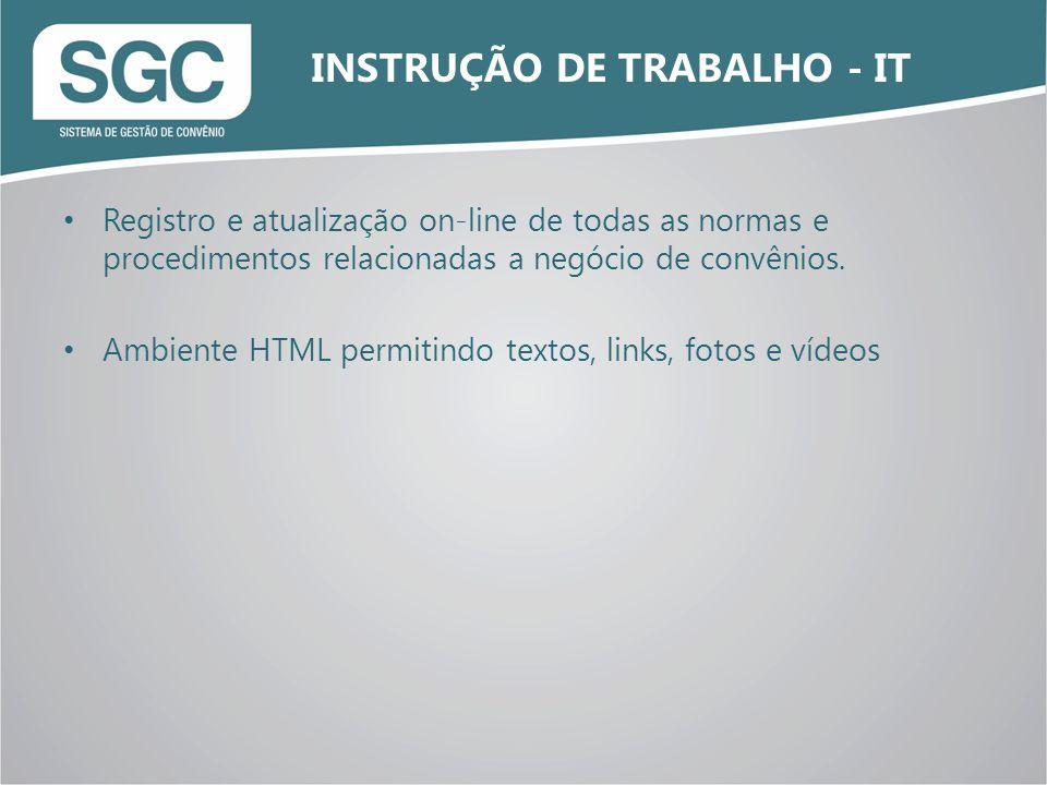 Registro e atualização on-line de todas as normas e procedimentos relacionadas a negócio de convênios. Ambiente HTML permitindo textos, links, fotos e