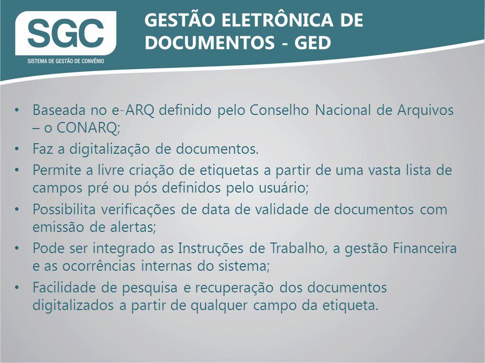 Baseada no e-ARQ definido pelo Conselho Nacional de Arquivos – o CONARQ; Faz a digitalização de documentos. Permite a livre criação de etiquetas a par