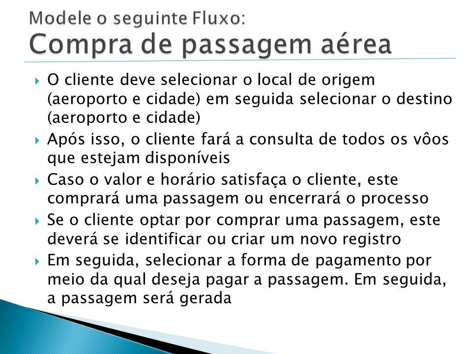  O cliente deve selecionar o local de origem (aeroporto e cidade) em seguida selecionar o destino (aeroporto e cidade)  Após isso, o cliente fará a