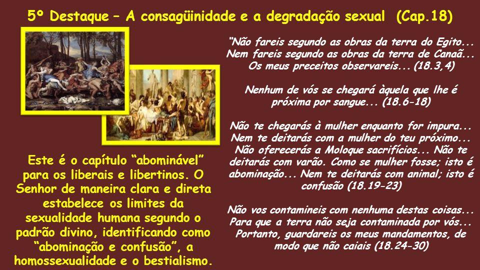 """""""Não fareis segundo as obras da terra do Egito... Nem fareis segundo as obras da terra de Canaã... Os meus preceitos observareis... (18.3,4) Nenhum de"""