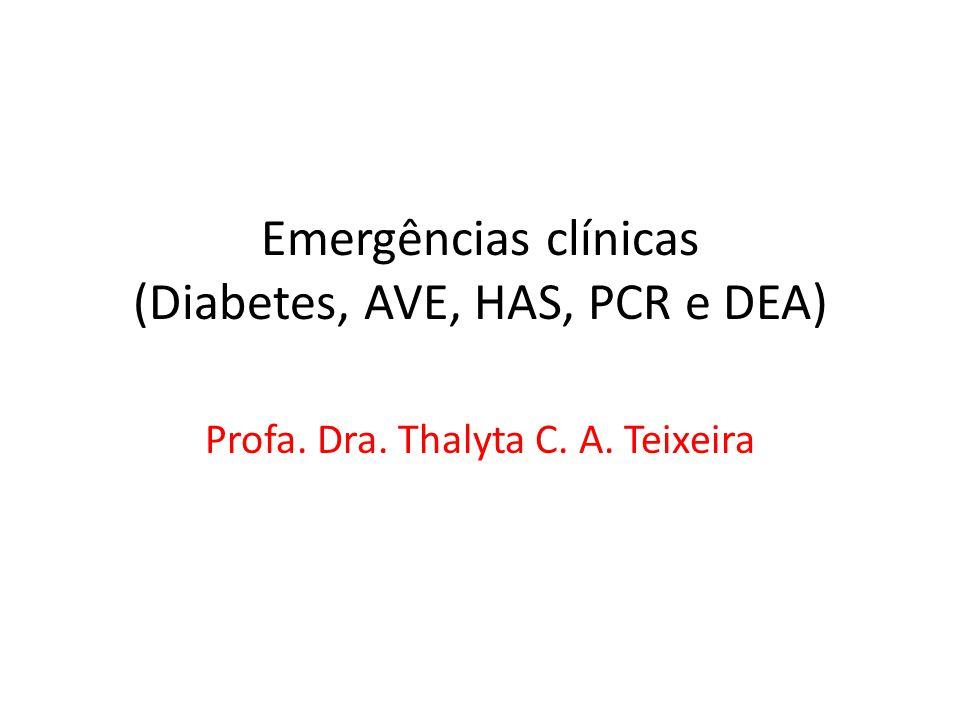 Emergências clínicas (Diabetes, AVE, HAS, PCR e DEA) Profa. Dra. Thalyta C. A. Teixeira