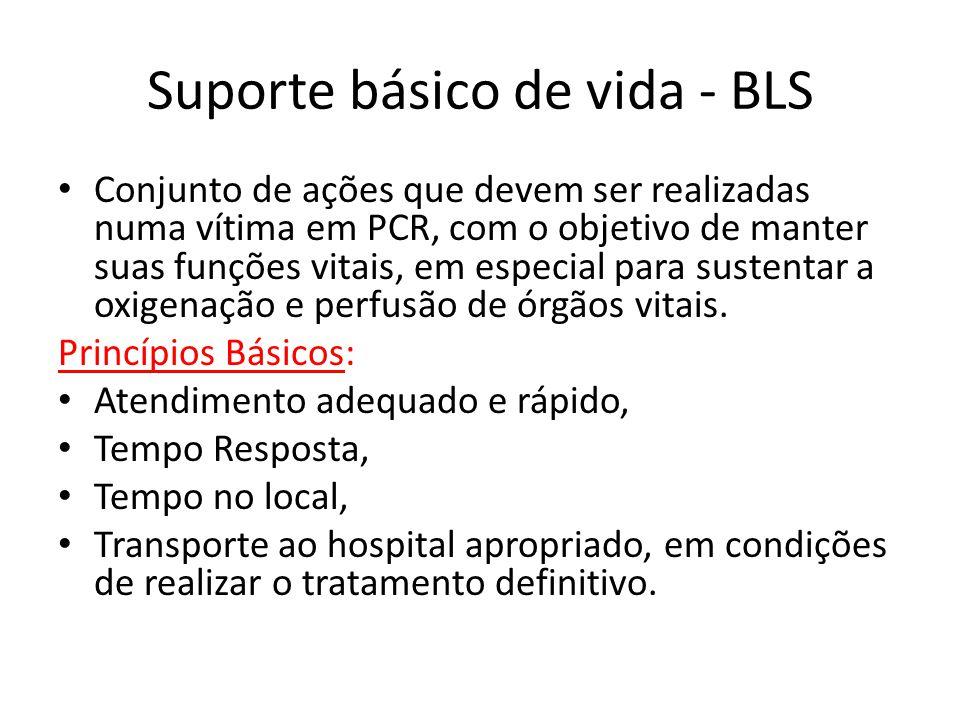 Suporte básico de vida - BLS Conjunto de ações que devem ser realizadas numa vítima em PCR, com o objetivo de manter suas funções vitais, em especial
